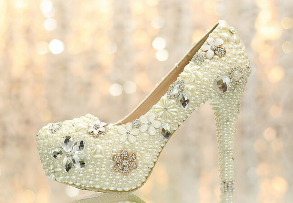2015 Aesthetic pearl rhinestone wedding shoes ultra high heels bridal shoes wedding shoes platform crystal shoes the banquet formal dh001