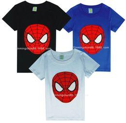 Wholesale Cool Cartoon Shirts - Boys spiderman t-shirts cool summer short sleeved cartoon t-shirts tops B014