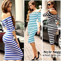 Wholesale Cotton Stretch Dress Woman - HOT NEW Sexy Women Off Shoulder Striped Dress Bodycon Stretch Cocktail Club Party Dresses Free Shipping