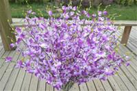 flores brancas verdes alaranjadas venda por atacado-Silk flores Oncidium 94 centímetros / 37