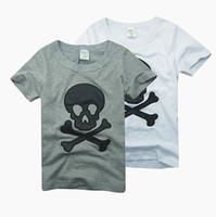 Wholesale Baby Boys Tshirts - Boys tees shirts tops skull tshirts cotton jersey baby boys t-shirts outfits B016