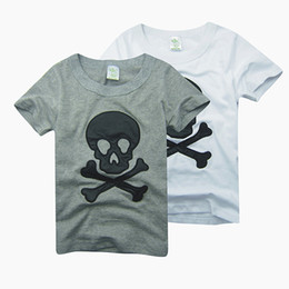 Wholesale Jersey Cotton Tees - Boys tees shirts tops skull tshirts cotton jersey baby boys t-shirts outfits B016