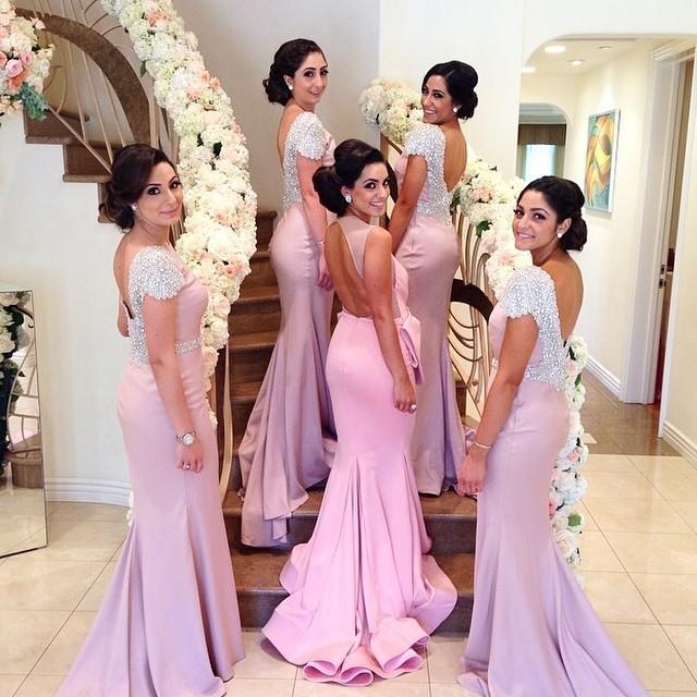 Najpiękniejsze Różowe Bateau Backless Corn Train Cap Sleeve Mermaid Ślubny Wieczór Druhna Suknie Formalna Maid of Honor Suknie