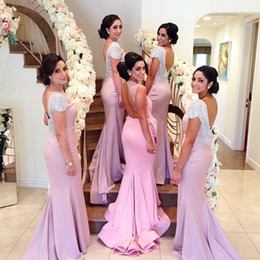 Wholesale Most Wedding Dresses Sleeves - Most Beautiful Pink Bateau Backless Court Train Cap Sleeve Mermaid Wedding Evening Bridesmaid Dresses Formal Maid Of Honor Gowns 2014