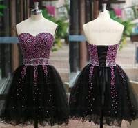 Wholesale Ruffle Strapless Cocktail Dress - Sfani Real Photos 2015 Sweetheart Strapless Black Cocktail Dresses Party Dresses Cheap Dress Beading Bodice