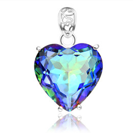 Wholesale Heart Rhinestones Gems - HUGO 2PCS Lot Holiday Jewelry Gift Heart Rainbow Mystic Topaz Gems 925 Silver Pendant Necklace P0905