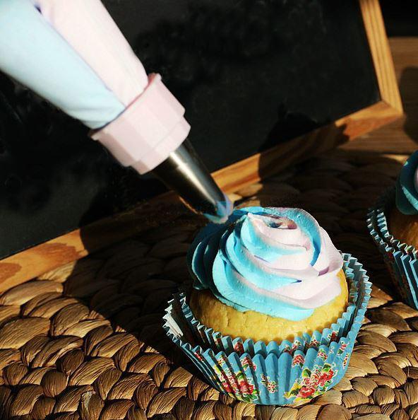 Bicolor Cream Torba Ciasto Cookie Dekorowanie Ciasto Double Double Color Dwa Kolory Podwójne Torba Lodowacenie Silikonowe Porady Rurociągowe Deco Torby Zestawy dyszy