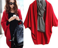 Wholesale Winter Women s Knitting Sweaters Fashion Long Cardigans Shawl Batwing Sleeve Coat colors