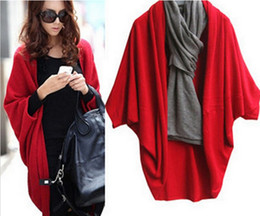 Wholesale Women Batwing Cardigan Sweaters - Winter Women's Knitting Sweaters Fashion Long Cardigans Shawl Batwing Sleeve Coat 3 colors