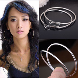 Wholesale Silver Earrings Loops - 1pair New 925 Silver Plated Round Big Large Huggie Loop Hoop Earrings for Women Party Jewelry Gift 50MM Free Shipping