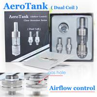 Wholesale Dual Coil Cartomizers - Aerotank glassomizer aero tank airflow control Dual Coils Clearomizer rebuildable atomizer 1:1 retail package protank Nautilus cartomizers