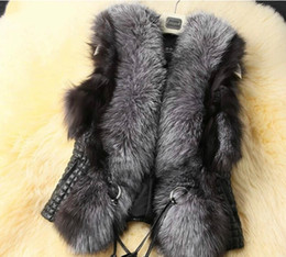 Wholesale Women Black Fur Vest - Fashion Jacket Vests Women Fur Leather Coat Vest Outerwear Clothing Apparel black