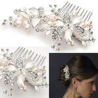 New Coming High Quality Floral Pearl Crystal Comb Crown Tiar...