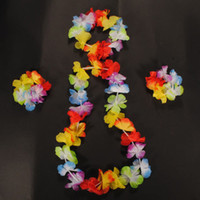 Wholesale Hawaiian Hula - Wholesale-4pcs set 10set lot Hawaiian Leis Set Flower Garland Necklace headband Bracelet Wristband Hula Luau