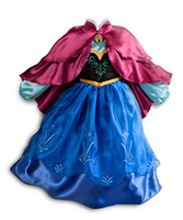 Wholesale Tencel Print Dresses - girls dress Movie Cosplay Costume Princess Anna coronation Dress for Children Halloween Dresses for Kids clothing with Double Red Cloak