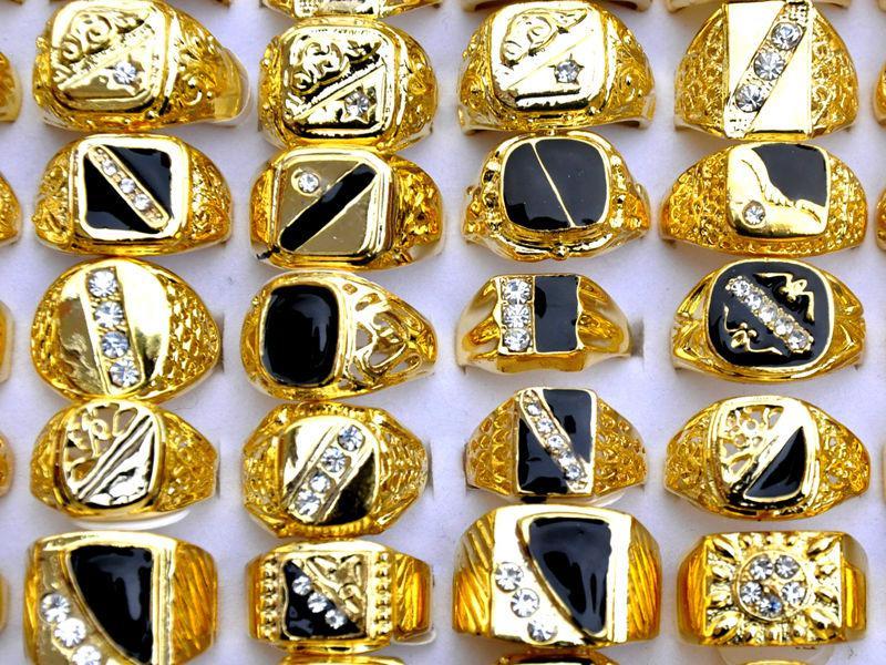 Anillos del anillo Rhinestone chapado en oro de los hombres mezclados lotes de joyería al por mayor envío gratis