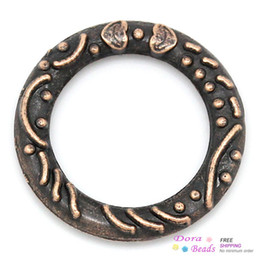 Wholesale Antique Copper Jump Rings - Closed Jump Rings Antique Copper Heart & Stripe Pattern Carved 14mm Dia,100PCs (B31419)