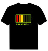 led t shirt wholesale 2021 - 100pieces Lot EL T-shirt Sound Activated Flashing T-shirt led t-shirt EL T-shirts Free Shipping