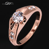 Wholesale Diamond Zircon Crystal Rings - CZ Diamond Wedding Finger Rings 18K Gold Plated Cubic Zircon Crystal Engagement Party Jewelry For Men And Women Wholesale DFR249