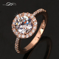 Barato Diamante Anel De Noivado Jóias-Swiss AAA + CZ Diamond Halo Anéis de noivado 18K banhado a ouro o Crystal The Finger Ring Wedding Jewelry For Women DFR319