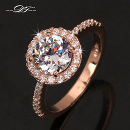 Wholesale Gold Plated White Set - Swiss AAA+ CZ Diamond Halo Engagement Rings 18K Gold Plated o Crystal The Finger Ring Wedding Jewelry For Women DFR319