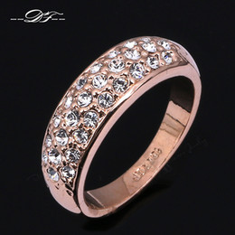 Wholesale gold three finger ring - CZ Diamond Micro Pave Engagement Finger Ring Wholesale Gold Plated Crystal Fashion Wedding Party Jewelry For Women anel DFR061