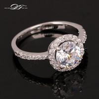 швейцарский бриллиант 18k оптовых-Swiss Cubic Zirconia Diamond обручальные кольца 18k Platinum покрытием o палец кольцо свадебные украшения Imitaton Кристалл для женщин DFR320