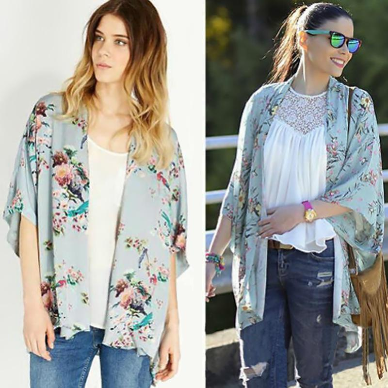 2018 Vintage Kimono Floral Bird Print Cardigans Open Front Sweater ...