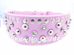 Wholesale Dog Harness For German Shepherd - Wholesale-Personalized Crystal Studded Dog Collar 2 Inch Wide PU Leather Pet Supplies For Pitbull German Shepherd