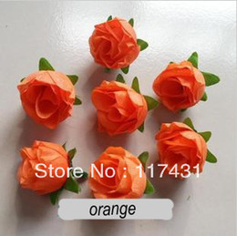 Wholesale Single Headed Peonies - Wholesale-Free shipping new arrival orange Artificial Silk Simulation Single Rose Camellia Peony Flower Head Wedding Christmas Party 3cm