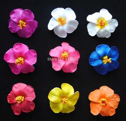 Wholesale Hawaiian Wholesale Flowers - Wholesale-On Sale! 40pcs lot 8.5cm Hibiscus Foam Flower Hawaiian Hair Flower Clip Decorative Wedding & Party Flower