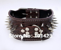Wholesale Spiked Collars For Big Dogs - Wholesale-3inch Width Berry Pu Leather Sharp Spikes Big Dog Pet Collar For Pitbull S M L