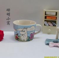 Wholesale Coffee Cup Soup - Wholesale-DE 1pc High quality porcelain Moomin mug ceramic coffee cup big soup coffee milk cup blue beautiful cartoon gift