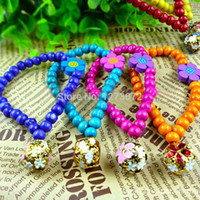 Wholesale Lovely Wooden Cats - Wholesale-1PC Promotion Fashion Lovely Dog Cat Necklace Pet Bell Collars Wooden Beads Pet Jewelry Free Shipping FZ1750 tmPp5