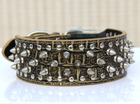Wholesale Cheap Spiked Collars - Wholesale-Fashion Cheap 100% Guarantee Spiked Studded Gold Brown PU Leather Dog Collars Pit Bull Mastiff P62-ZG