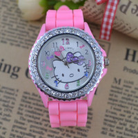 Wholesale Crystal Watch Silicone Band - 20pcs lot free shipping Diamond crystal ladies girl Hello kitty Silicone Band Quartz Wrist Watch For Unisex Gift 10 Color Available