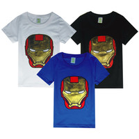 Wholesale Child Activewear - Children veneer Iron Man Boy embroidered short-sleeved T-shirt summer kids activewear tops clothes B023