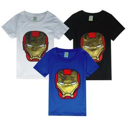 Wholesale Child Activewear - Children veneer Iron Man Boy embroidered short-sleeved T-shirt summer kids activewear tops clothes B023