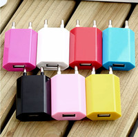 Wholesale Iphone 4s Charger Car Wall - Colorful 5V 1A 1000mAh EU US Plug USB Power Travel Adapter AC Wall Charger For iPhone 4 4S 5 5S 6 Samsung HTC Cell Phone DHL Free