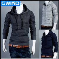 Wholesale comfortable cotton hoodies - Wholesale-2014 new men's hoodie cotton fashion leisure comfortable generous concise cap collar sweater sport coat