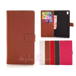 Wholesale Xperia Pouch - For Sony Xperia Z3   Z3 mini Litchi Wallet Leather Flip Case Cover With Credit Card Slots Stand Holder Z3 mini