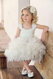 best red tea Canada - Best Selling Excellent Square Flower Girls Dress Princess Sleeveless Lace-up Tea Length Feather Hand Made Flowers Lace Flower Girls Dresses
