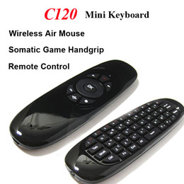 Wholesale Wireless Keyboard Gyroscope Android - C120 Mini Portable Wireless Air Mouse Full Key Keyboard 3 Axis Sensor Remote Control 2.4G Somatic Gyroscope Game Handgrip for Android TV BOX