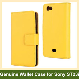 Wholesale Cases Xperia Miro - Wholesale Fashion Genuine Leather Folding Wallet Flip Cover Case for Sony Xperia miro St23i with Card Insert Function Free Shipping