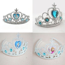 Wholesale Hair Supplies Queens - Free DHL Christmas Gift Frozen Crown Fashion Tiaras Princess Elsa Anna Girl Party Supply Hair Accessories Glitter Queen Crowns Factory Price