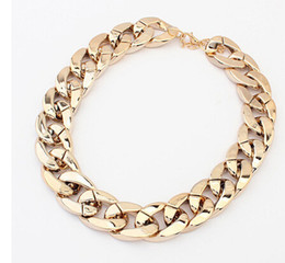 Wholesale Wholesale Chunky Fashion Jewelry - Fashion Chokers Alloy Chunky Twisted Link Chain Ladies' Statement Choker Men Unisex Necklace Collar Charm Jewelry 3colors