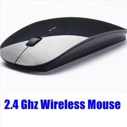 Wholesale Super Thin Mouse - Wholesale-Free shipping Super thin 2.4GHz gaming mouse wireles Mouse white and black for laptops & desktops and tablet pc