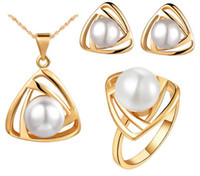 Wholesale Order China For Gold - 18k Pearl Necklace Earrings Rings Wedding Jewelry Sets High-Grade 18kgp Alloy Jewelry Sets For Women Best Gift Min Order 12sets 140417
