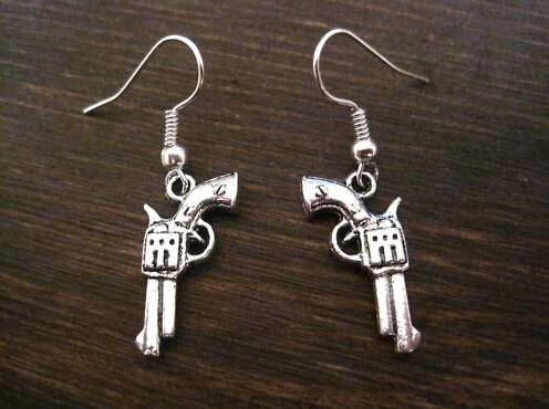 Earring, Antique silver *REVOLVER GUN CHARM* SP Earrings GIFT POUCH silver Fish Ear Hook 24 pair/Lots