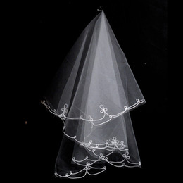 Wholesale Vintage Bridal Veil Ivory - 2018 Vintage Wedding Accessory Bridal Veils Two Layers Tulle Summer Fall Autumn Bride Veil Cheap 0.99 USD Free Shipping In Stock